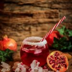 Pomegranate segments on ice