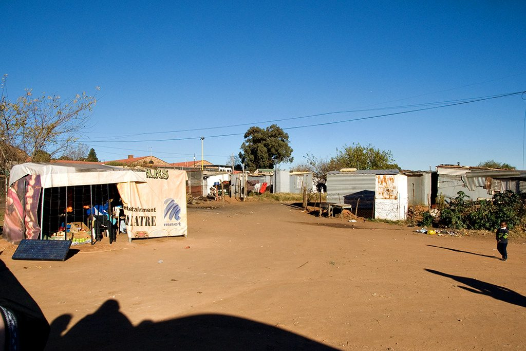 Market place in shanty town in Soweto