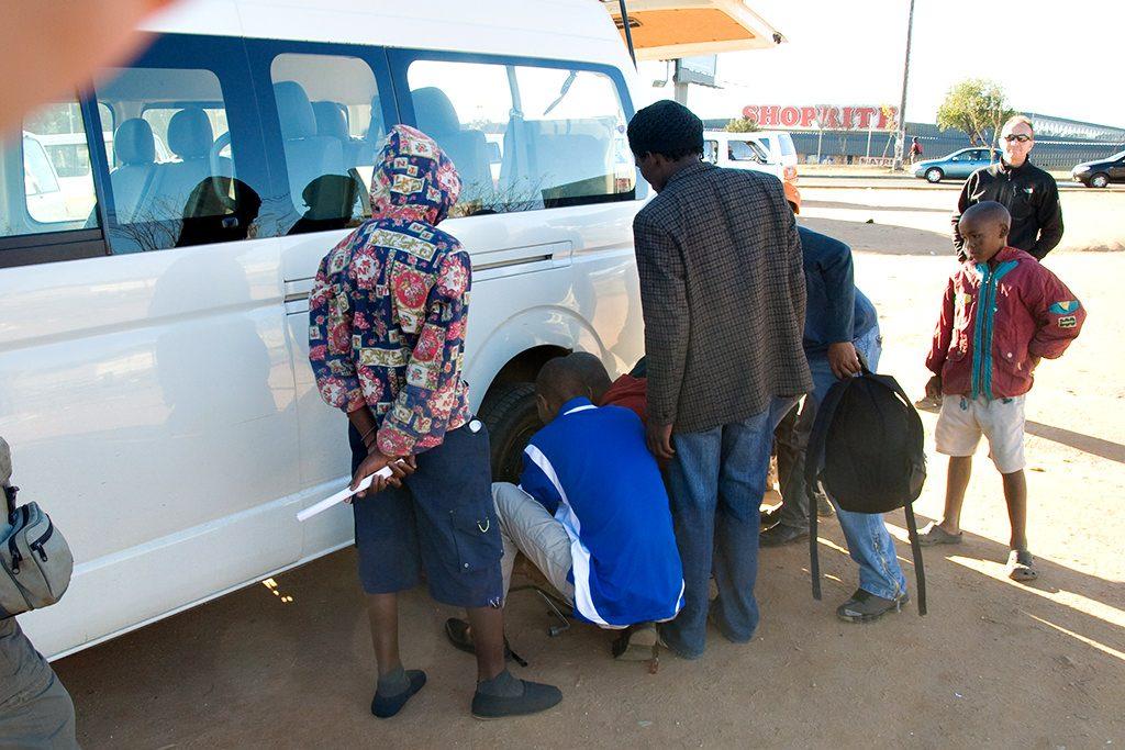 Flat tyre on tourist bus - soweto