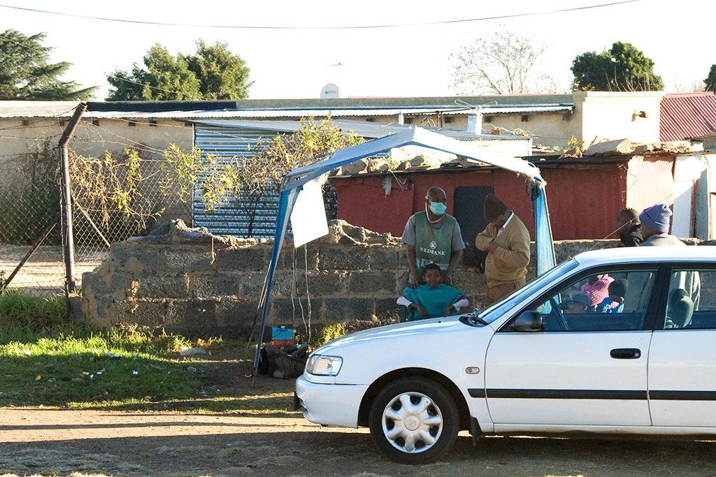 Shanty town hairdresser in Soweto